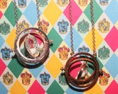 Harry Potter Inspired Hermione Time Turner Rotating Necklace - Packaged for gift giving <3 - Hogwarts Party Favors - Silver or Gold