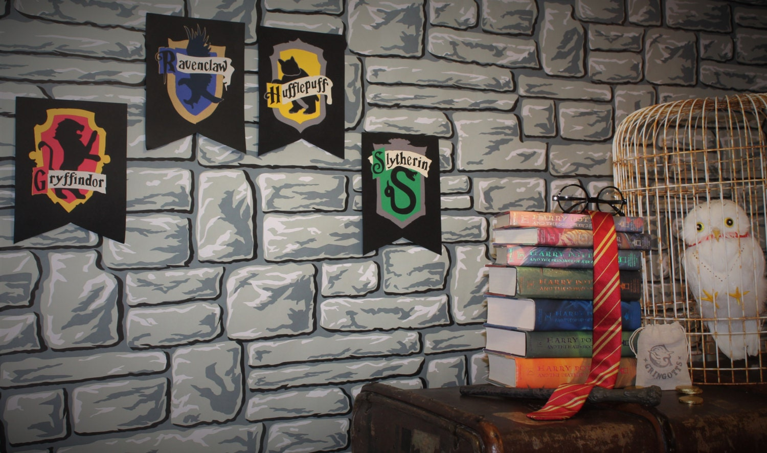 Harry potter party decor hogwarts house wall by for Harry potter home decorations