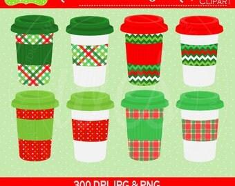 SALE  Christmas Drink Cups Digital Clipart Set - Coffee Clip Art - Tea Clipart - To Go Cups Clipart - Commercial Use