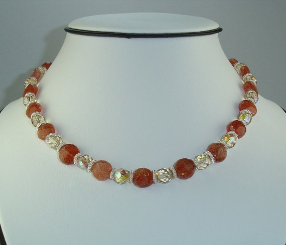 17 Inch Sunstone and Sterling Silver Necklace & Earring Set