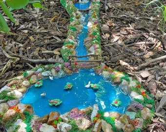 Fairy Garden Water Feature-2 Piece River and Pond-OOAK-Swans/Lily Pads