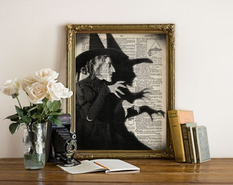 WICKED Witch Wizard of OZ Halloween Dictionary Art Print Poster Giclee Black and White Wall Decor Antique Book Page 8x10 11x14 +More Sizes