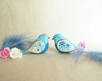 Blue bird wedding cake topper. One of a kind ready to ship.
