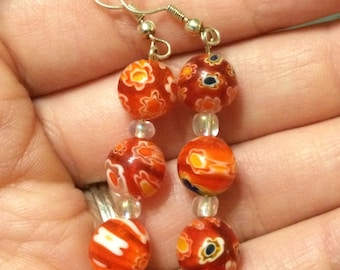 Orange Speckled Dangle Earrings
