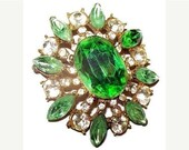 "Green Rhinestone Brooch Pin Layered Gold Metal High End 2.5"" Vintage 1950s"