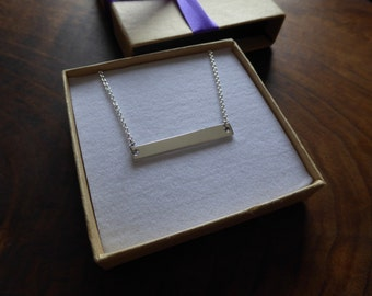 Silver Rectangular Pendant Necklace