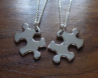 Two Personalised Puzzle Heart Pendant Necklaces