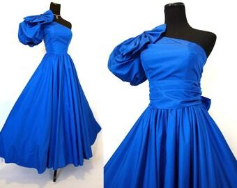 Vintage 80s long blue princess asymmetric prom gown size 6 XS