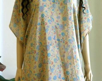 Silk Flower Kaftan, Caftan, Cover up, Summer Dress