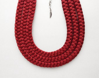 Choker necklace, red necklace, statement necklace, fabric necklace - Triple braid necklace - handmade in red copper fabric - limited edition