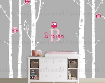 Owls and Birch Tree Forest Wall Decal, Birch trees, Birch forest, Birch Tree Owl Wall Vinyl for Nursery, Kids or Childrens Room 008