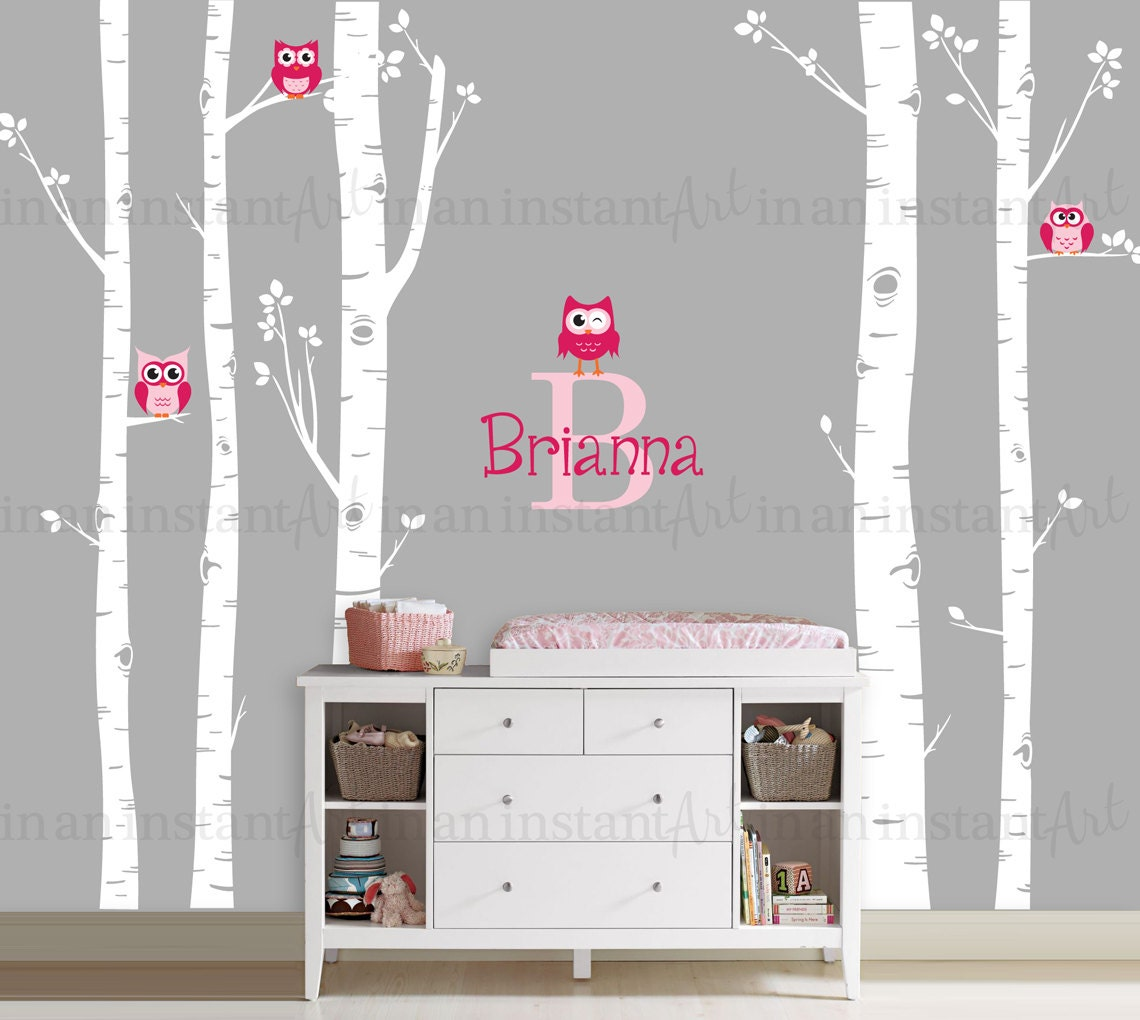 owls and birch tree forest wall decal birch trees birch zoom
