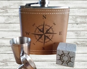 Nautical inspired Flask and Whiskey stone set - Flask Gift Set - Gift for men - Whisky stone - Compass hip flask - Fathers Day - Groomsman