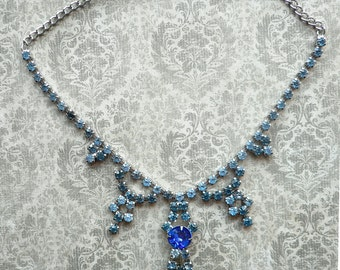 Vintage Blue Rhinestone Necklace - Wedding Necklace - Art Deco Necklace - Vintage Wedding