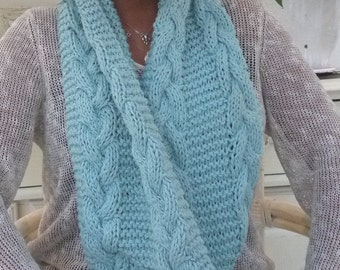 Robins Egg Cable Cowl