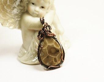 Petoskey Stone Jewelry / Copper Jewelry / Petoskey Copper Necklace