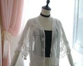 Romantic Lace Chiffon Kimono Jacket White Cape Poncho Blouse Top Sun Fringe Boho Bohemian ,women's fashion clothing Darling beach coverup