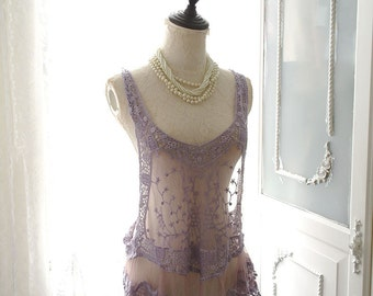 Bohemian Boho Gypsy Purple Lavender Lace Crochet Flower Floral Cape Tank Top Cami Camisole Racer back Summer Beach Honeymoon Hippie Shabby