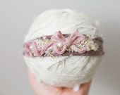 Newborn Headband - Newborn Photo Prop: Newborn Tieback, Newborn Flower Crown, Newborn Halo, Organic Photography Props, Lilac, Plum, Jersey