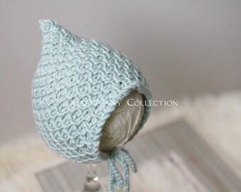 Newborn Bonnet: Newborn Photo Prop - Classic Newborn Bonnet, Baby Hat, Newborn Knit Bonnet, Crochet Bonnet, Merino Wool, Seafood, Blue
