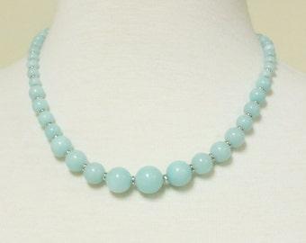 Beautiful Soft Pale Blue Amazonite Graduated Single Strand Necklace