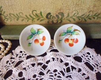 Pair of Cherry Salt Dishes, Occupied Japan Salt Bowls, Rice Bowl Shaped Salt Cellars