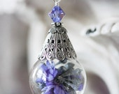 LILAC FROST Victorian Cloche Dried Flower Necklace, Glass Vial Globe Necklace on High Quality Silver Chain, Ready to Ship