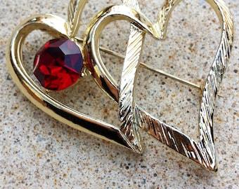 Vintage Double Heart Siam Ruby Red Crystal Rhinestone Gold Tone Pin Brooch July Birthstone Jewelry Valentine's Wedding Bride Bridal