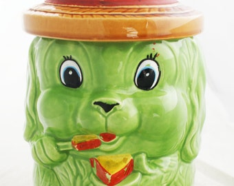 Cookie Jar- Ceramic Puppy Dog Neon Green Kitchsy Japan 1970s