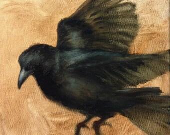 Original Oil Painting Flying Grackle I
