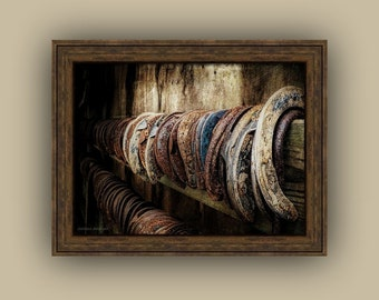 Horseshoe Still Life Blacksmith Rustic Country Equestrian Lover's Art, Southwestern, Cowboy Horse Lover's Art Fine Art Photography Print
