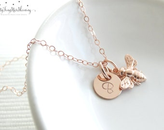 Rose Gold Bee Necklace, Bumble Bee, Honeybee, Rose Gold Bee, Bee Jewelry Personalized Necklace, Hand Stamped, Initial Charm Dainty Necklace
