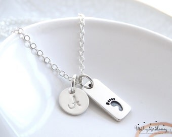 New Mom Gift Mothers necklace New Baby necklace Footprint charm necklace Sterling Silver Baby Foot print Jewelry  Footprint Initial Necklace