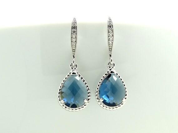 Bridal Earrings Blue Earrings Wedding Jewelry Navy Blue Teardrop Earrings Dangle Earrings Bridesmaid Jewelry Bridesmaid Gifts