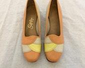 60's Peachy Sherbet Dress Shoes // 6.5 // Soft Flex // Low Heels // Leather