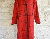 Woolrich Coat Wool Coat Red Plaid Winter Coat Woolrich Wool Parka Hooded Medium Winter Coat Preppy Outdoors