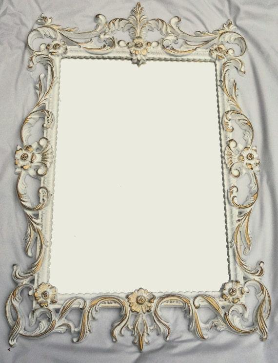 White gold framed baroque mirror vintage ornate retro for White baroque style mirror