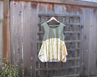 Boho Babydoll Shirt Lagenlook Layered Draped Flannel Tunic Top/Green Yellow Upcycled Eco Blouse/Asymmetrical Womens Babydoll Top M/L