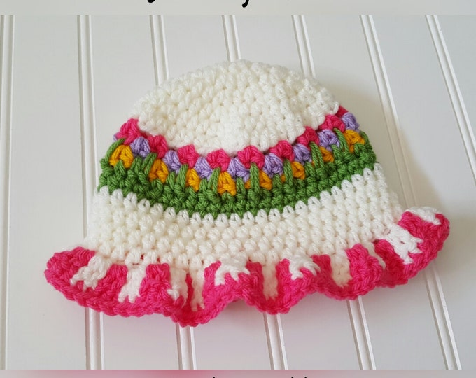 Pattern--Flower Garden Sun Bonnet pattern, Infant summer hat, Crochet baby Sun hat pattern- Pattern Only