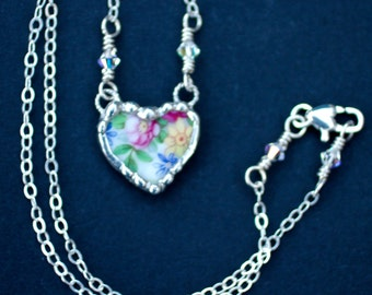 Necklace, Broken China Jewelry, Broken China Necklace, Petite Heart Pendant, Pink and Yellow Floral, Sterling Silver Chain, Soldered Jewelry