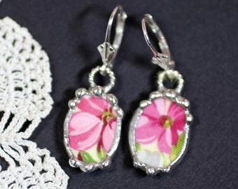 Earrings, Broken China Jewelry, Broken China Earrings, Pink Floral China, Sterling Silver Earrings