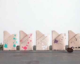 Minimalist Veg Tanned Leather Wallet - Splatter Print