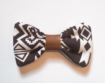 Aztec Brown & White Bow - Hair Clip / Bow Tie / Headband
