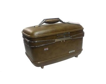 SALE Vintage Train Case - Vintage American Tourister Luggage, Brown Vintage Suitcase Travel Case, Overnight Carry On Luggage, Pinup Car Show