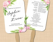 Bohemian Floral Wedding Program Fan, Watercolor Pink Bouquet Peonies Roses (5.5x8.5): Text-Editable in Word, Printable Instant Download