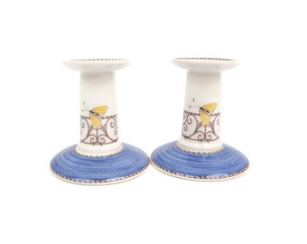 Vintage Wedgwood Candlestick Holders England Sarahs Garden Blue Butterfly Made in England Pair of Candlesticks Queens Ware Bone China