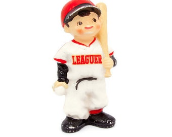 Vintage Baseball Player Boy With Bat LEAGUER Porcelain Batter Figurine Made in Japan Little Slugger