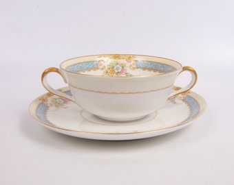 Vintage Cream Soup Bowl Saucer Noritake Morimura Blue and Cream Pastel Floral Design Made in Japan Double Handles