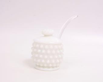 Vintage Fenton Art Glass Hobnail Milk Glass Jam Jelly Jar with Glass Spoon Mustard Pot Sugar Bowl