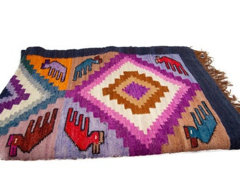 Vintage Hand Woven Wool Rug Tribal Design Blanket Southwestern Decor